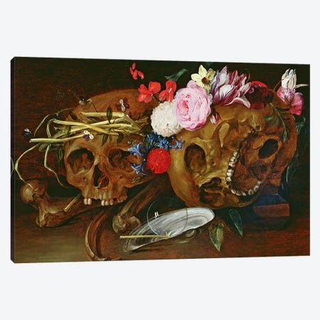 Vanitas Still Life with Skulls, Flowers, a pearl mussel shell, a bubble and straw  Canvas Print #BMN3649} by Nicholaes van Verendael Canvas Art Print