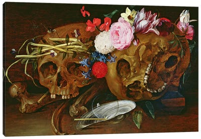 Vanitas Still Life with Skulls, Flowers, a pearl mussel shell, a bubble and straw  Canvas Art Print