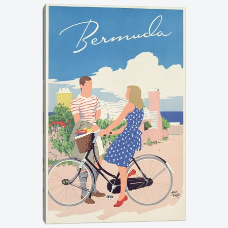 Poster advertising Bermuda, c.1956  Canvas Print #BMN3651} by Adolph Treidler Canvas Wall Art