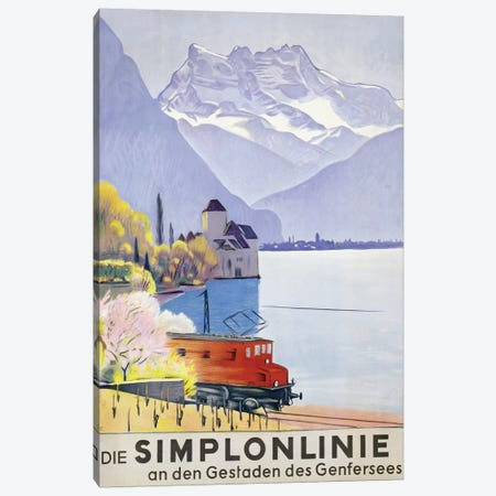 'Die Simplonlinie an den Gestaden des Genfersees', poster advertising rail travel around Lake Geneva, 1949  Canvas Print #BMN3652} by Emil Cardinaux Canvas Artwork