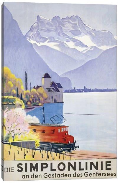 'Die Simplonlinie an den Gestaden des Genfersees', poster advertising rail travel around Lake Geneva, 1949  Canvas Art Print