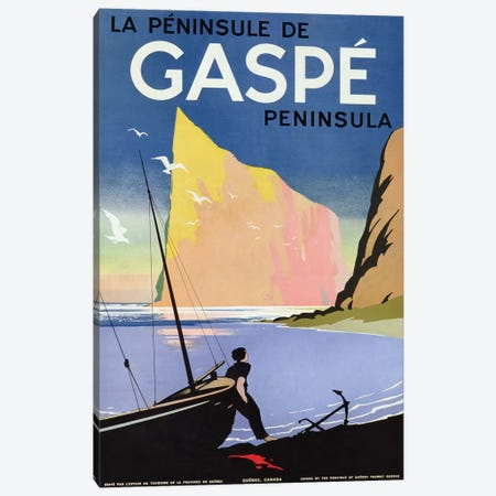 Poster advertising the Gaspe peninsula, Quebec, Canada, c.1938  Canvas Print #BMN3654} by Canadian School Canvas Art Print