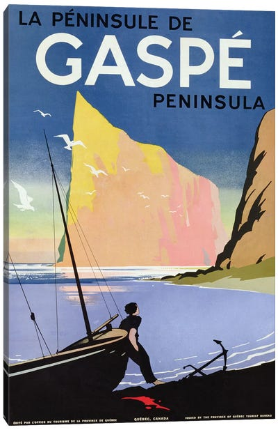 Poster advertising the Gaspe peninsula, Quebec, Canada, c.1938  Canvas Art Print