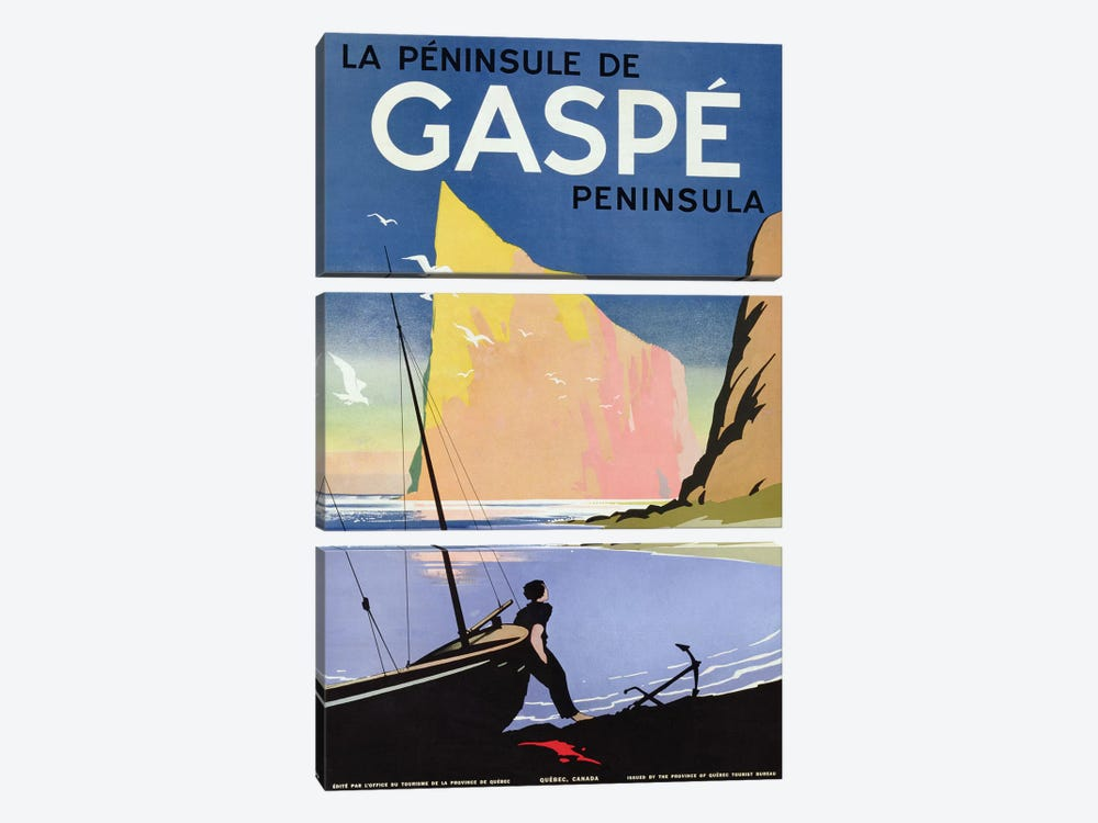 Poster advertising the Gaspe peninsula, Quebec, Canada, c.1938  by Canadian School 3-piece Canvas Art
