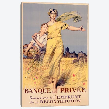 'Banque Privee: Souscrivez a l'Emprunt de la Reconstitution', poster advertising the National Loan  Canvas Print #BMN3655} by Rene Lelong Canvas Print