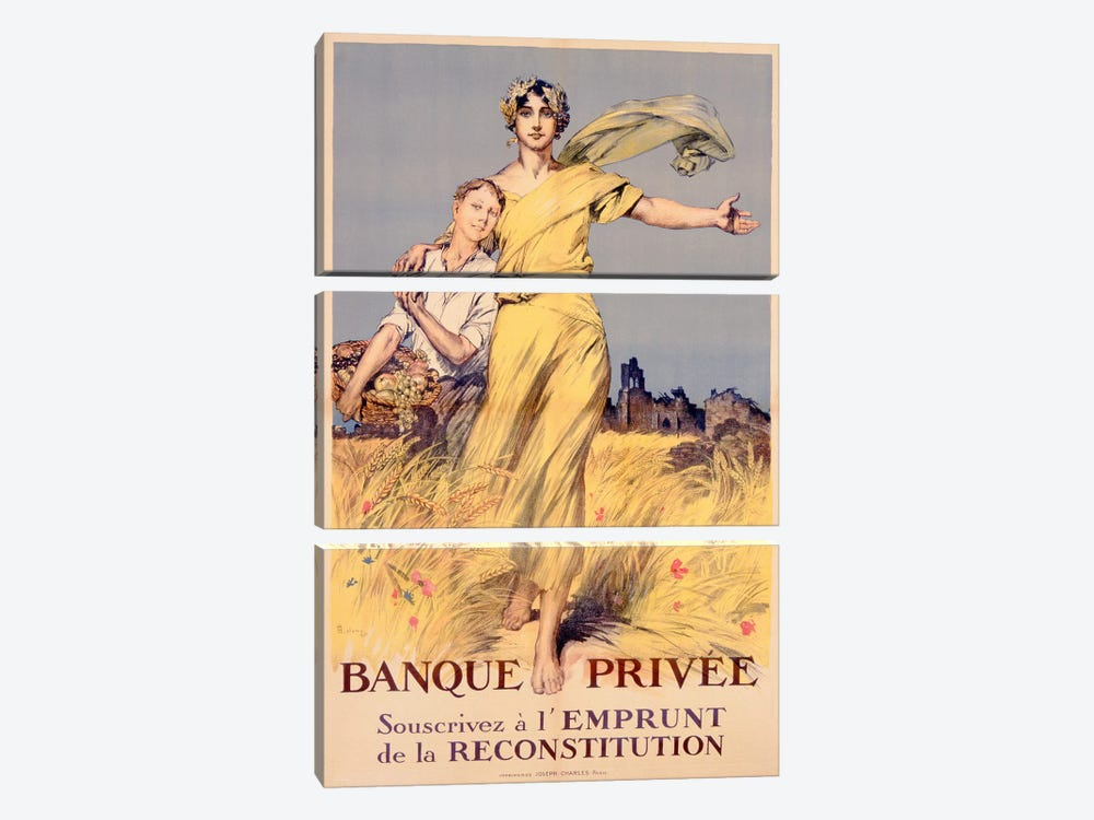 'Banque Privee: Souscrivez a l'Emprunt de la Reconstitution', poster advertising the National Loan  by Rene Lelong 3-piece Canvas Art Print