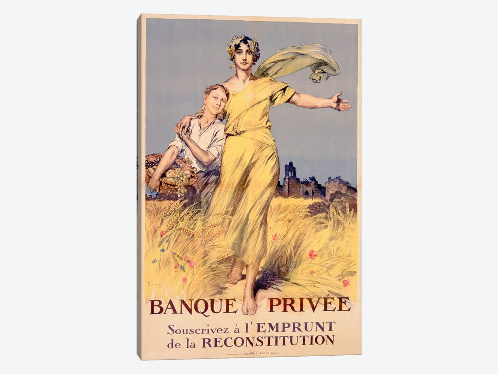 'Banque Privee: Souscrivez a l'Emprunt de la Reconstitution', poster advertising the National Loan  by Rene Lelong 1-piece Art Print