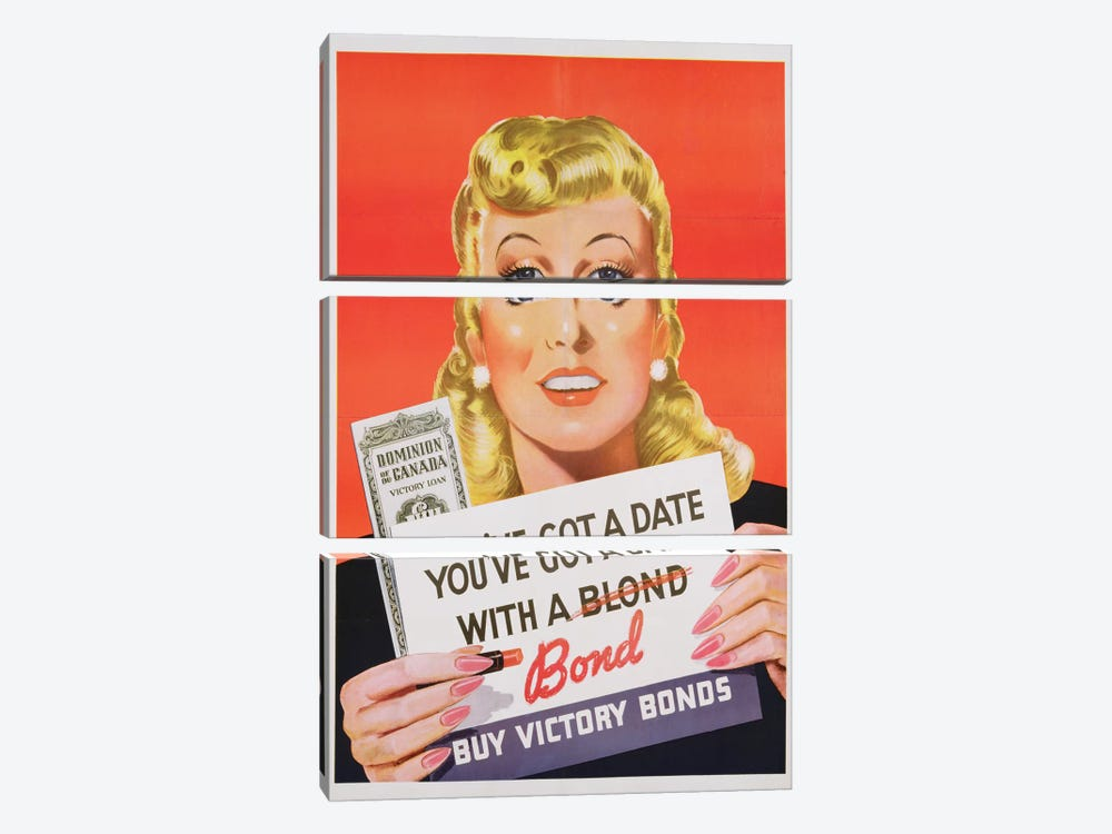 'You've Got a Date With a Bond', poster advertising Victory Bonds  by Canadian School 3-piece Canvas Artwork