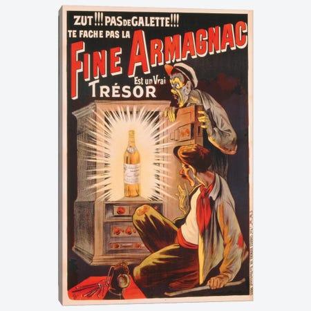 'Zut!!! Pas de Galette!!! Te Fache Pas la Fine Armagnac, Est une Vrai Tresor', poster advertising brandy, c.1910  Canvas Print #BMN3657} by Eugene Oge Canvas Art Print