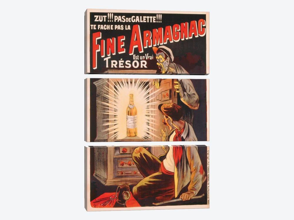 'Zut!!! Pas de Galette!!! Te Fache Pas la Fine Armagnac, Est une Vrai Tresor', poster advertising brandy, c.1910  by Eugene Oge 3-piece Canvas Art Print