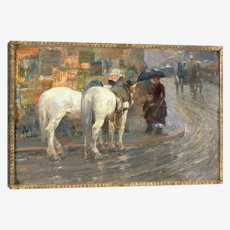 Paris Street Scene, c.1889  Canvas Print #BMN3659} by Childe Hassam Canvas Art