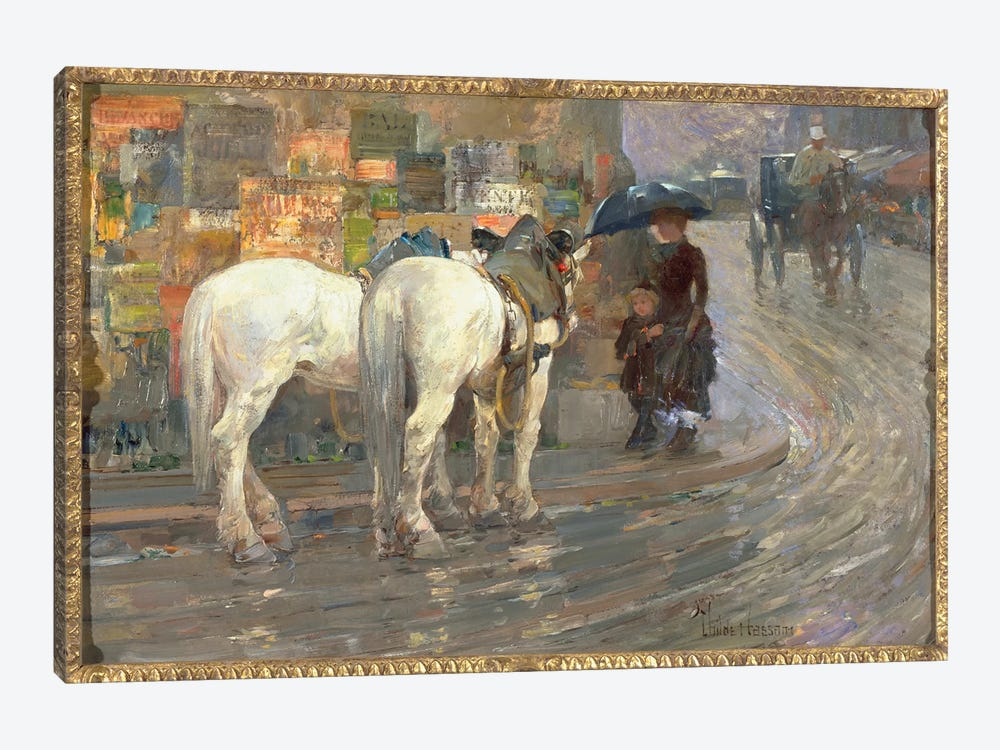 Paris Street Scene, c.1889  by Childe Hassam 1-piece Canvas Art Print