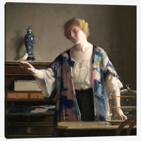 The Canary, 1913  Canvas Print #BMN3663} by William McGregor Paxton Art Print