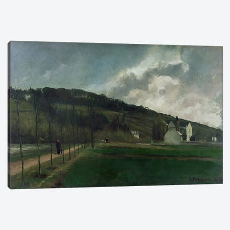 Banks of the river Marne in winter, 1866  3-Piece Canvas #BMN3667} by Camille Pissarro Canvas Artwork