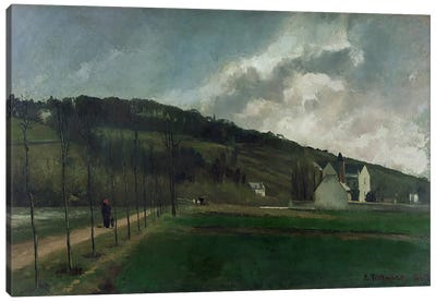 Banks of the river Marne in winter, 1866  Canvas Art Print