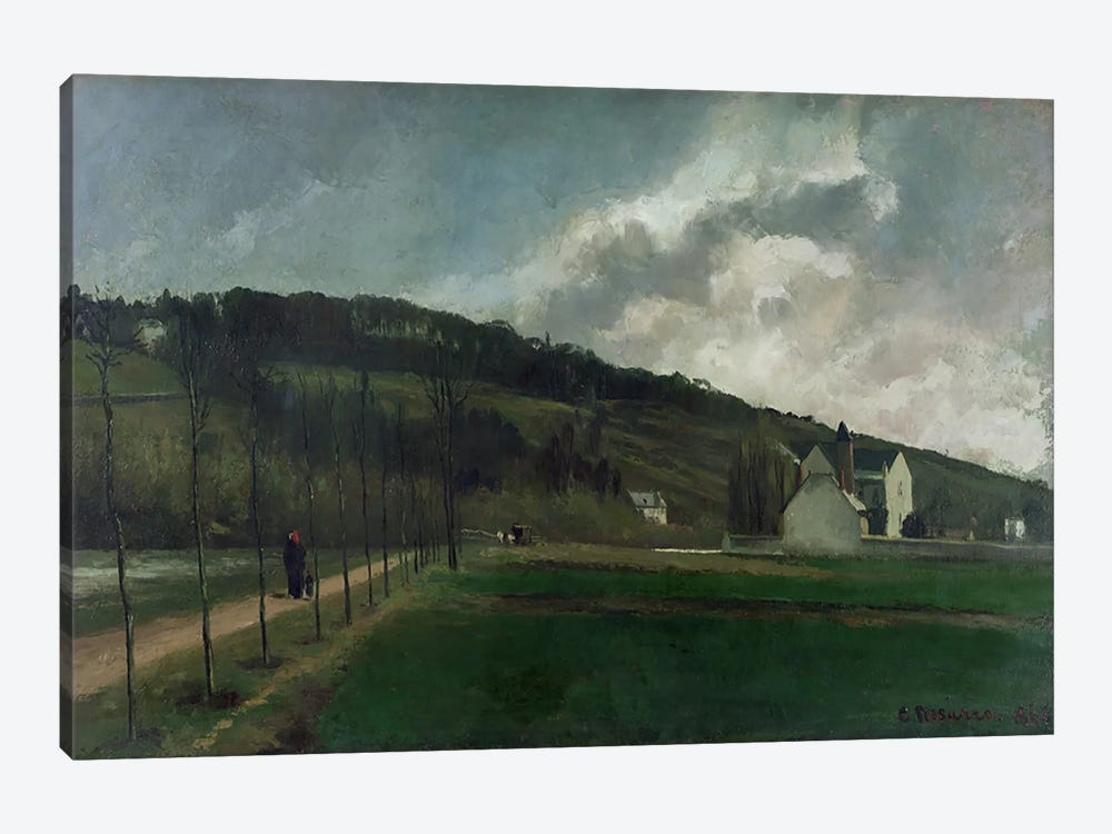 Banks of the river Marne in winter, 1866  by Camille Pissarro 1-piece Canvas Artwork