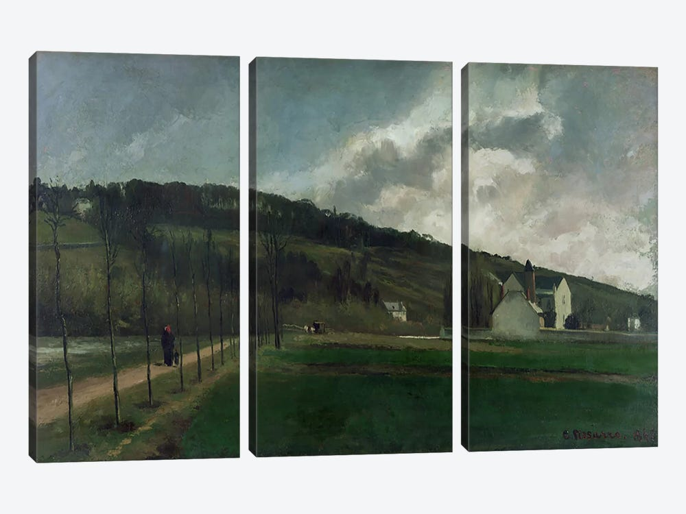 Banks of the river Marne in winter, 1866  by Camille Pissarro 3-piece Canvas Artwork