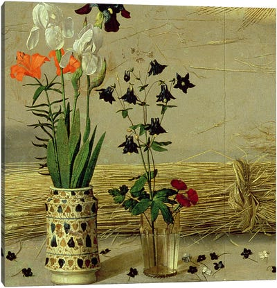 Flower detail, from the central panel of the Portinari Altarpiece, c.1479   Canvas Art Print