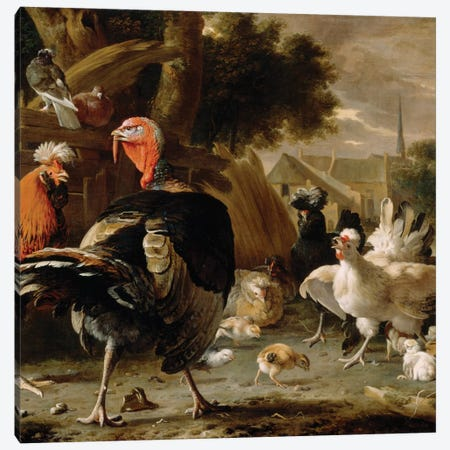 Poultry Yard, c.1668  Canvas Print #BMN3671} by Melchior de Hondecoeter Canvas Art