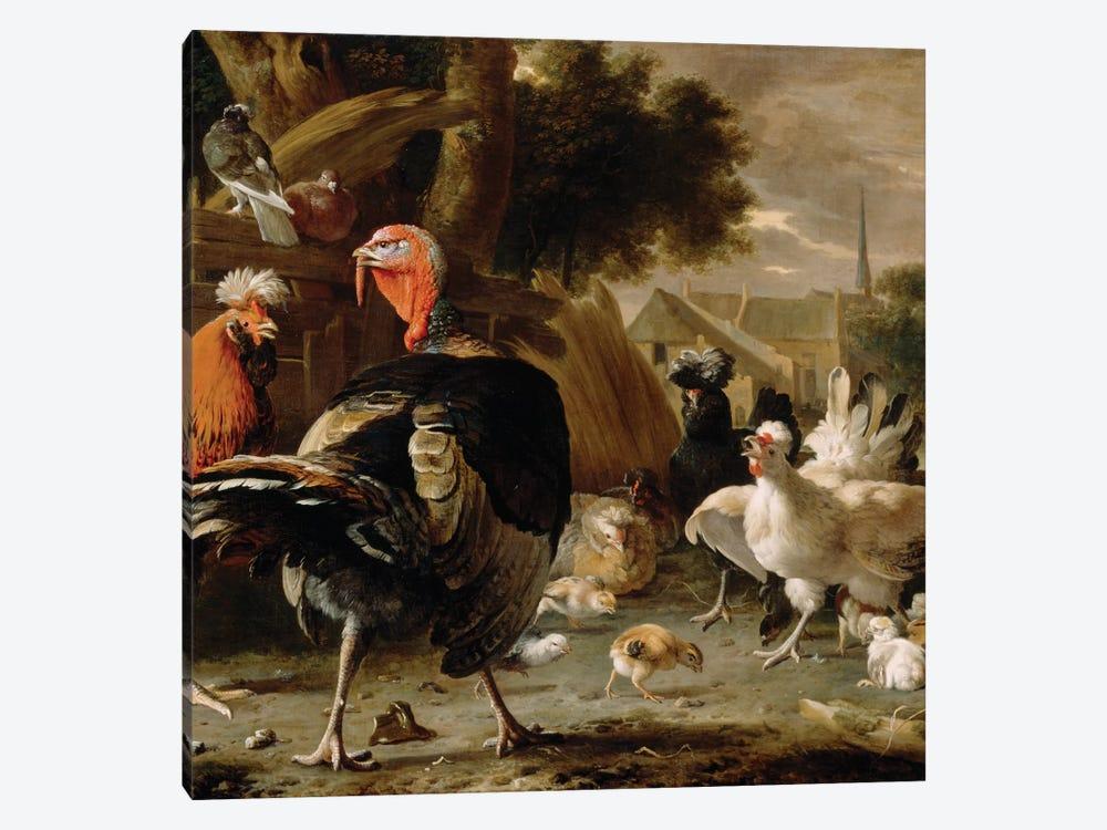 Poultry Yard, c.1668  by Melchior de Hondecoeter 1-piece Canvas Print