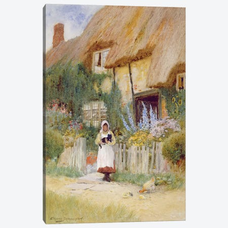 By the Cottage Gate  Canvas Print #BMN3676} by Arthur Claude Strachan Canvas Print