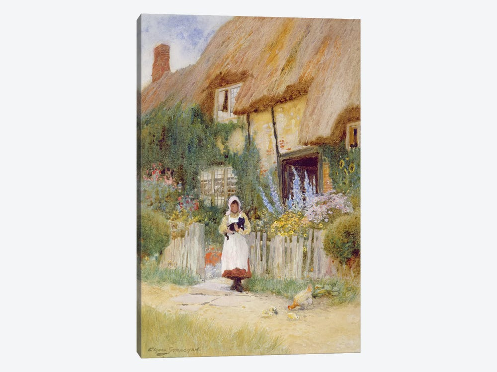 By the Cottage Gate  by Arthur Claude Strachan 1-piece Canvas Artwork