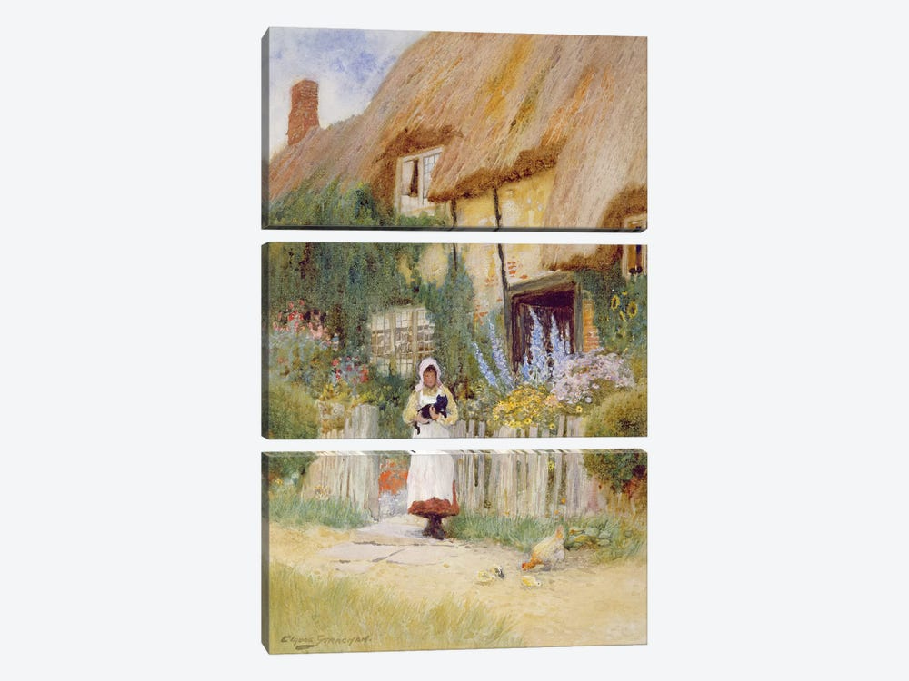 By the Cottage Gate  by Arthur Claude Strachan 3-piece Canvas Wall Art