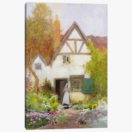 Feeding the Cat  Canvas Print #BMN3677} by Arthur Claude Strachan Canvas Print