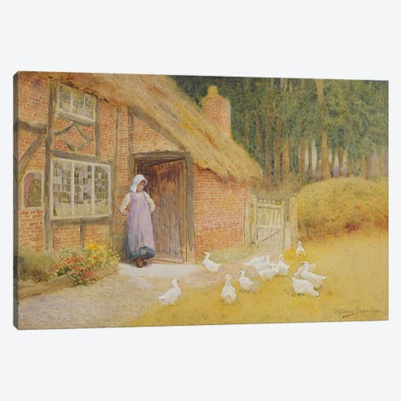The Goose Girl  Canvas Print #BMN3680} by Arthur Claude Strachan Canvas Print