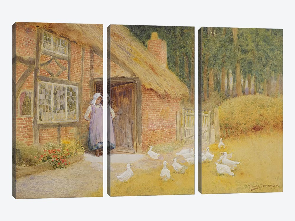 The Goose Girl  by Arthur Claude Strachan 3-piece Canvas Art Print