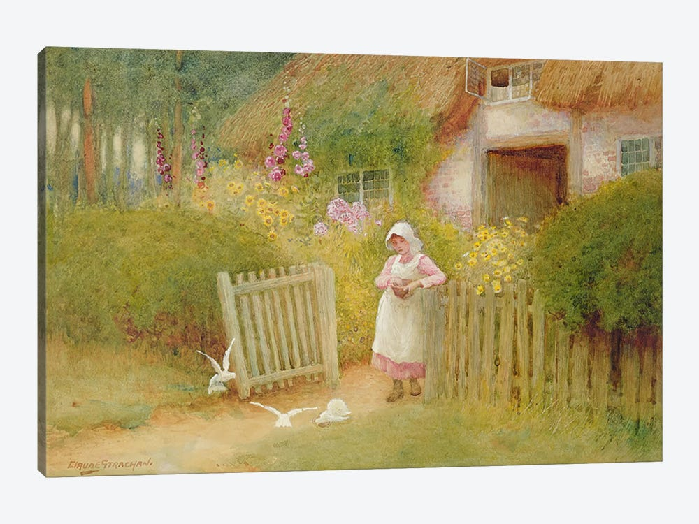 Feeding the Doves  by Arthur Claude Strachan 1-piece Canvas Art