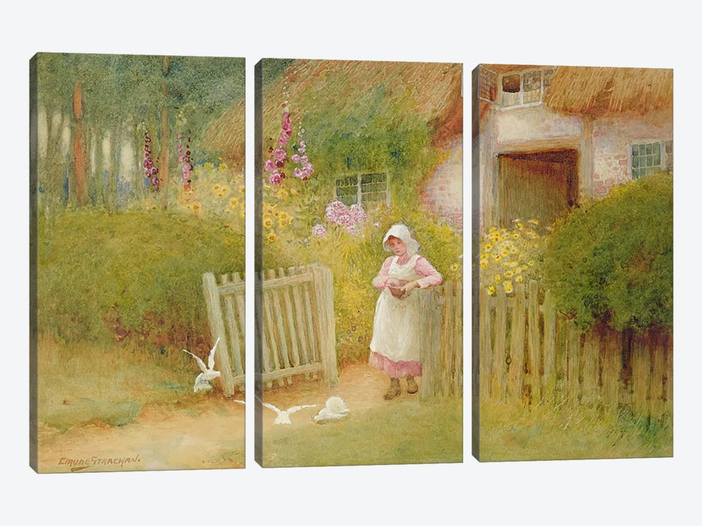 Feeding the Doves  by Arthur Claude Strachan 3-piece Canvas Artwork