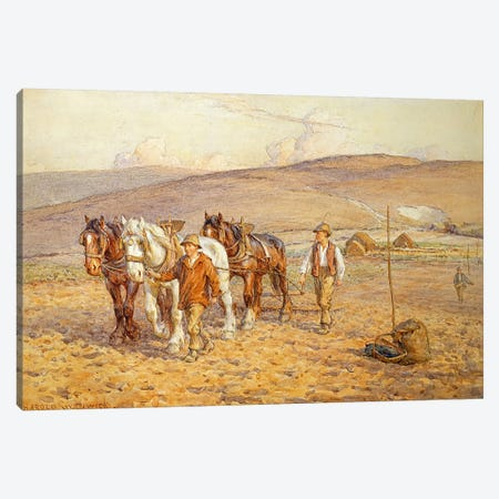 Ploughing Canvas Print #BMN3683} by Joseph Harold Swanwick Canvas Print