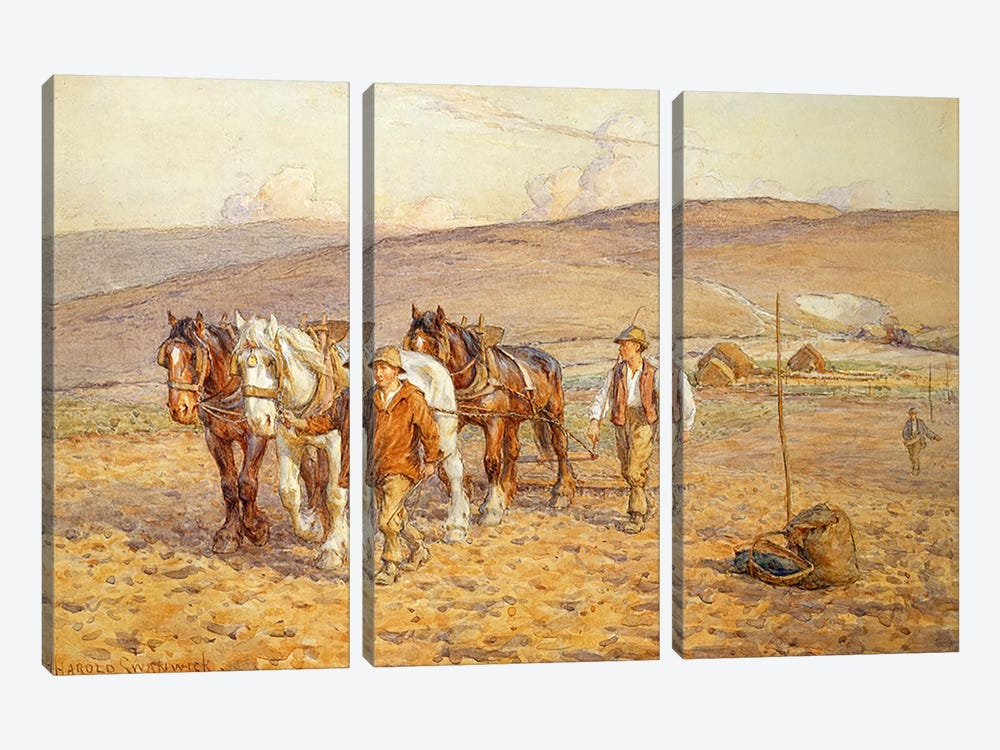 Ploughing by Joseph Harold Swanwick 3-piece Canvas Art