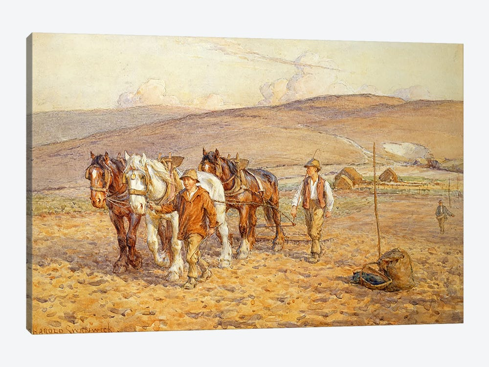 Ploughing by Joseph Harold Swanwick 1-piece Canvas Wall Art