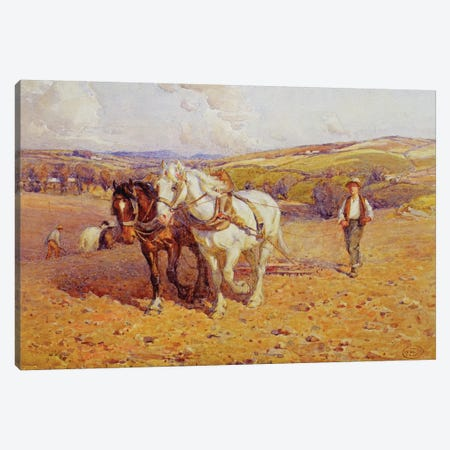 Ploughing Canvas Print #BMN3684} by Joseph Harold Swanwick Canvas Artwork
