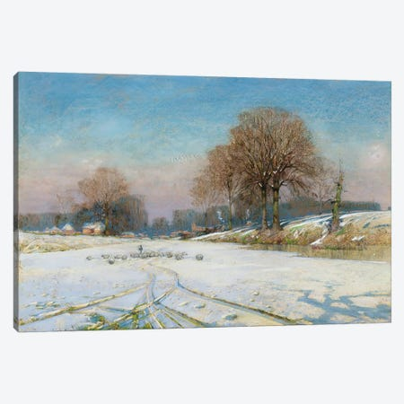 Herding Sheep in Wintertime  Canvas Print #BMN3687} by Frank Hind Canvas Artwork