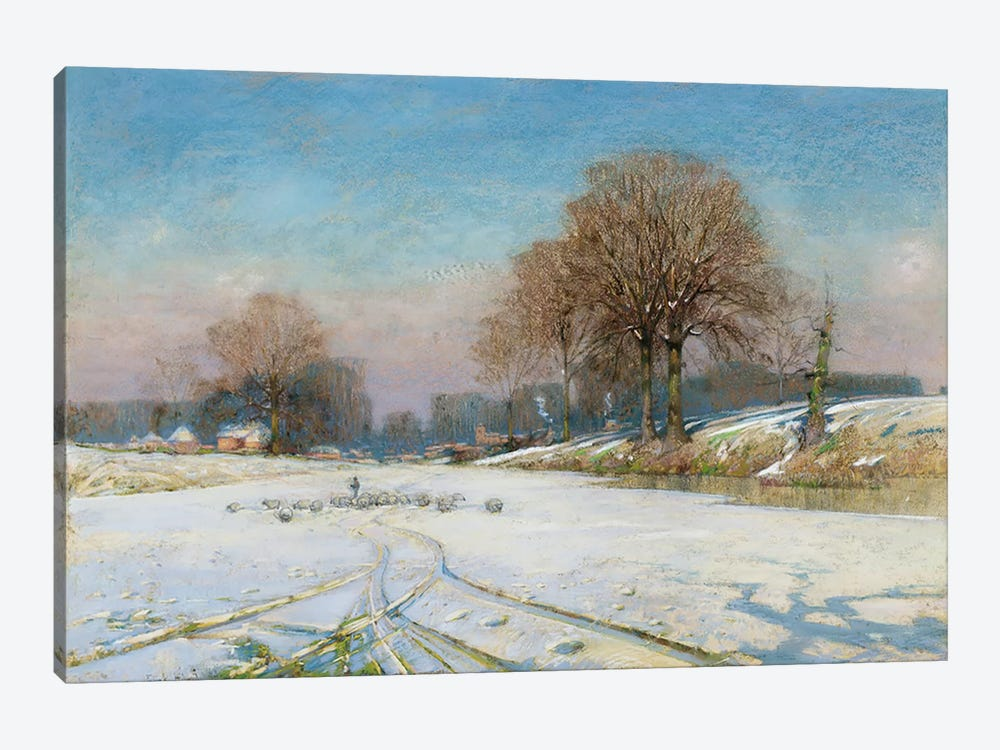 Herding Sheep in Wintertime by Frank Hind 1-piece Canvas Artwork