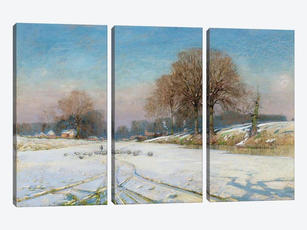 Herding Sheep in Wintertime by Frank Hind 3-piece Canvas Art