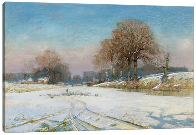 Herding Sheep in Wintertime  Canvas Art Print