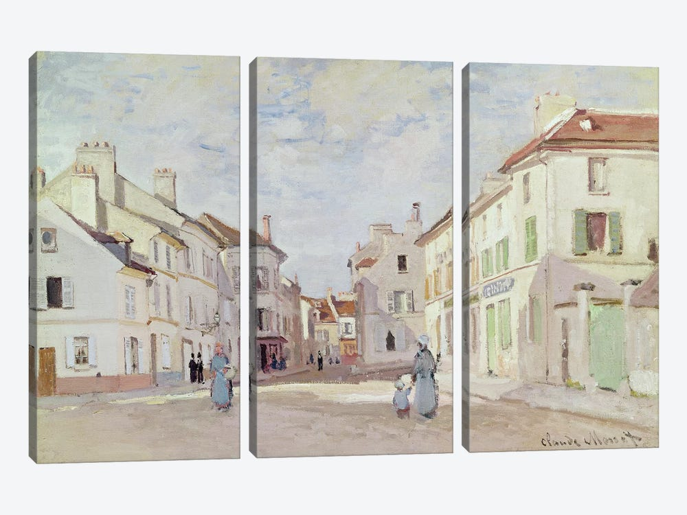 Rue de la Chaussee at Argenteuil  by Claude Monet 3-piece Canvas Art