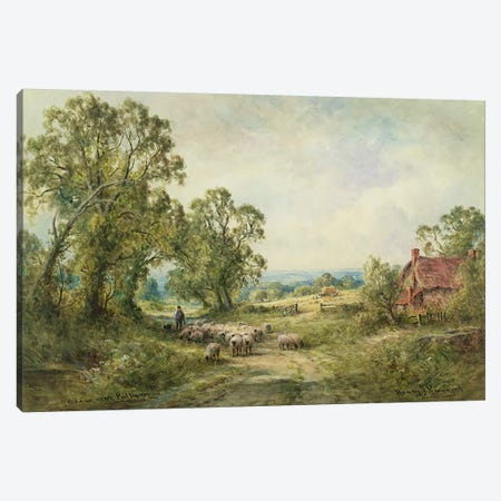 A Lane Near Pulborough  Canvas Print #BMN3694} by Henry John Kinnaird Canvas Print
