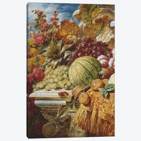 Still life with fruit  Canvas Print #BMN3696} by George Lance Canvas Art Print
