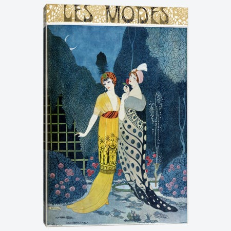 Les Modes (colour litho) Canvas Print #BMN36} by Georges Barbier Canvas Art