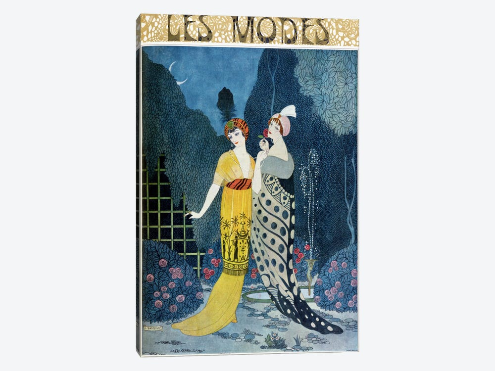 Les Modes (colour litho) by Georges Barbier 1-piece Canvas Art Print