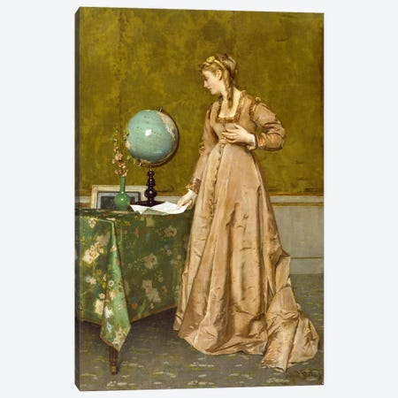 News from Afar, 1860's  Canvas Print #BMN3701} by Alfred Emile Stevens Canvas Art
