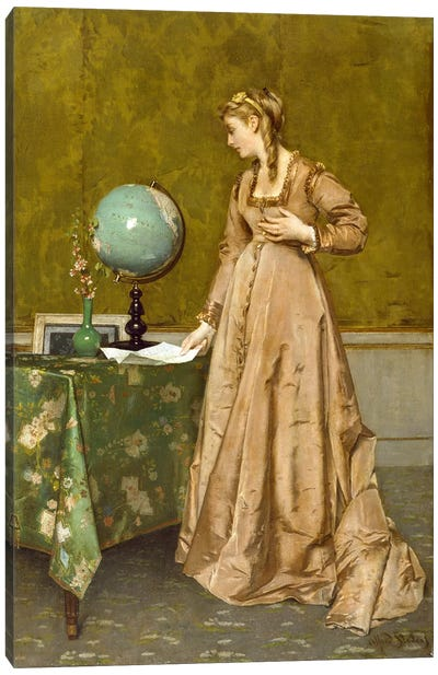 News from Afar, 1860's Canvas Art Print