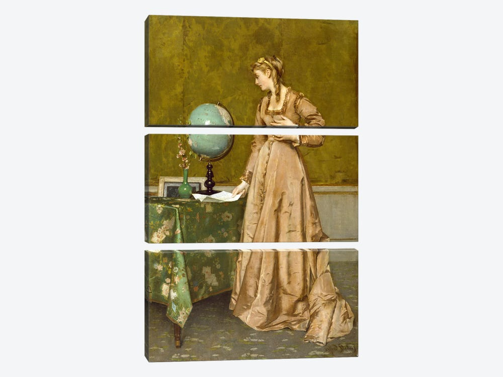 News from Afar, 1860's  3-piece Canvas Print