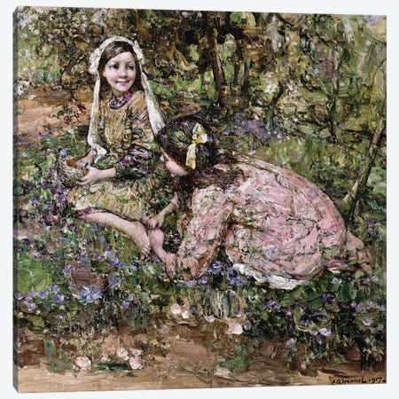 Mid Fairy Flax  Canvas Print #BMN3708} by Edward Atkinson Hornel Canvas Art