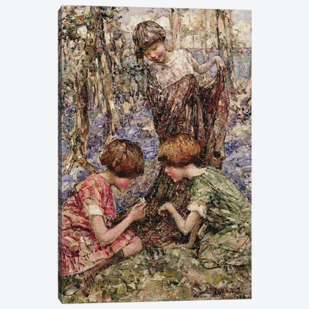 The Primrose Gatherers  Canvas Print #BMN3709} by Edward Atkinson Hornel Canvas Artwork